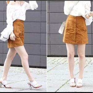 H&M faux suede button skirt 10